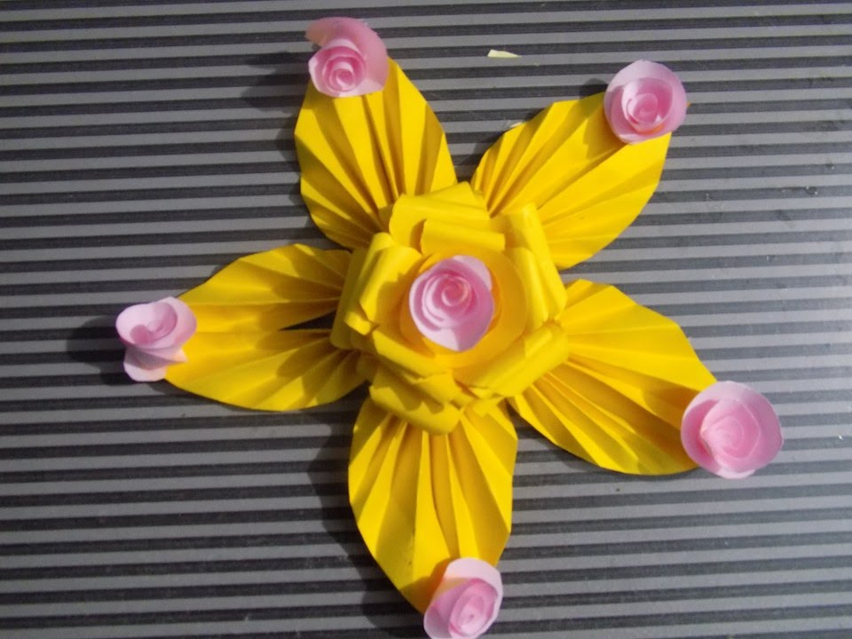 How to make paper flowers decorations eisly at home step for Flower making at home