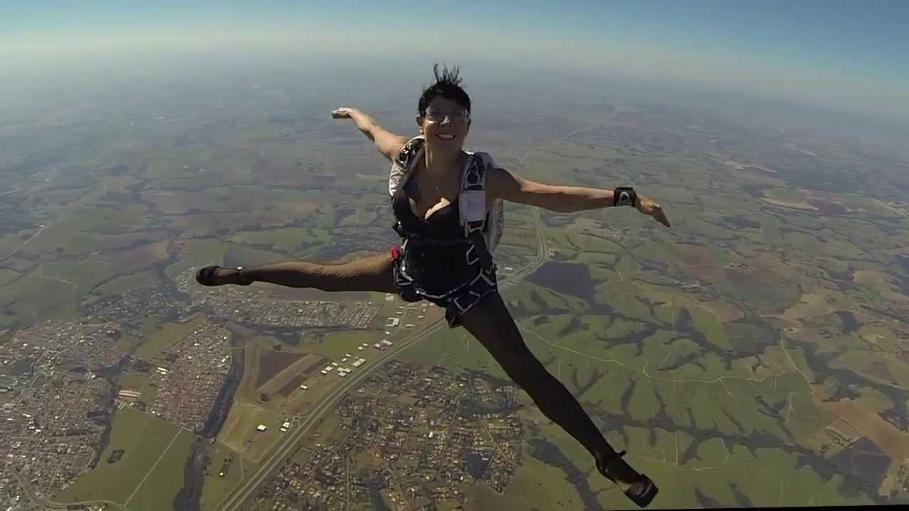 Skydiving Wearing Lingerie And Hight Heels - Youtube-1622