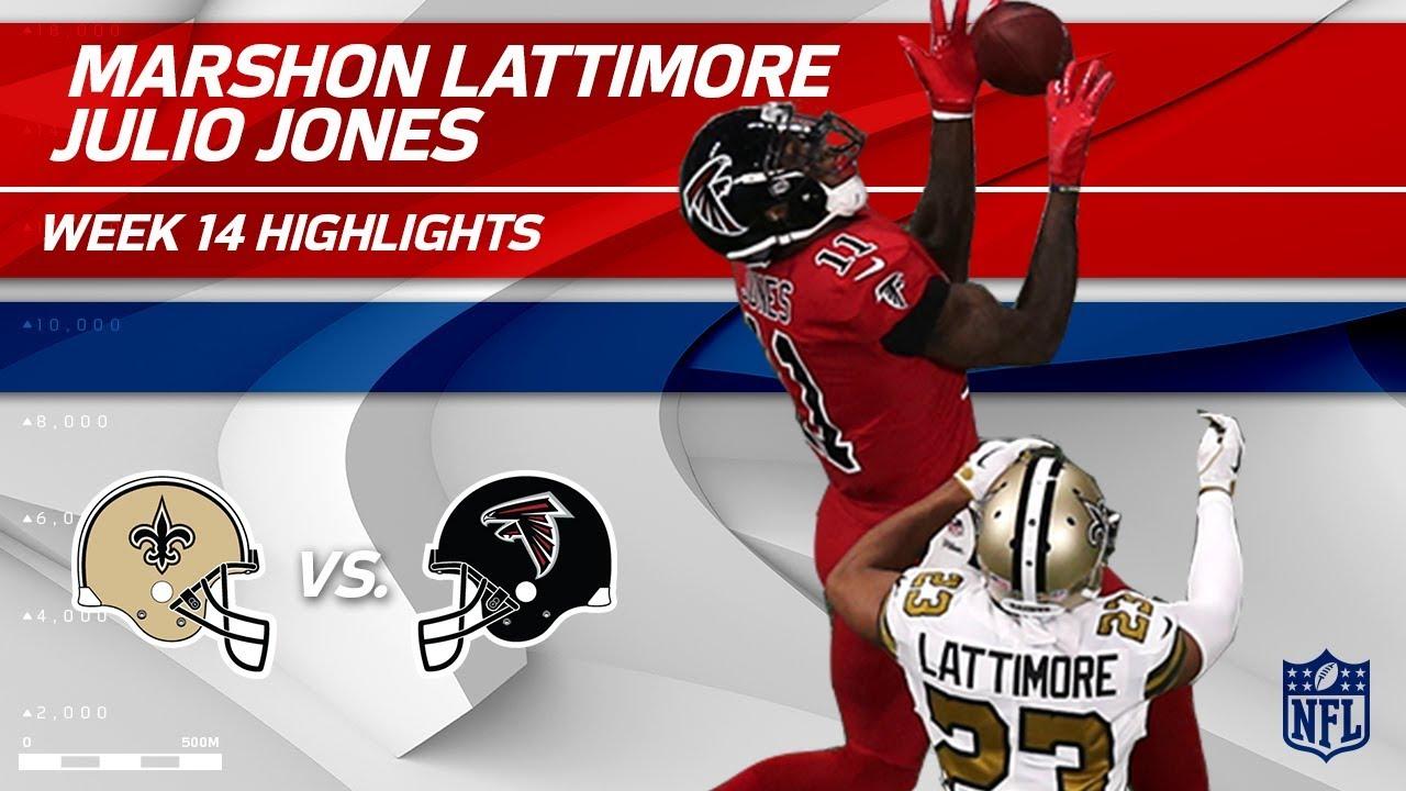 4a88737daff The Battle of Julio Jones & Marshon Lattimore! | Saints vs. Falcons | Wk 14  Player Highlights