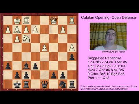 Chess - The Catalan Opening (for black) -  Open Defense with 7.Qc2 a6 8.a4 - 10.Bg5 - part 1