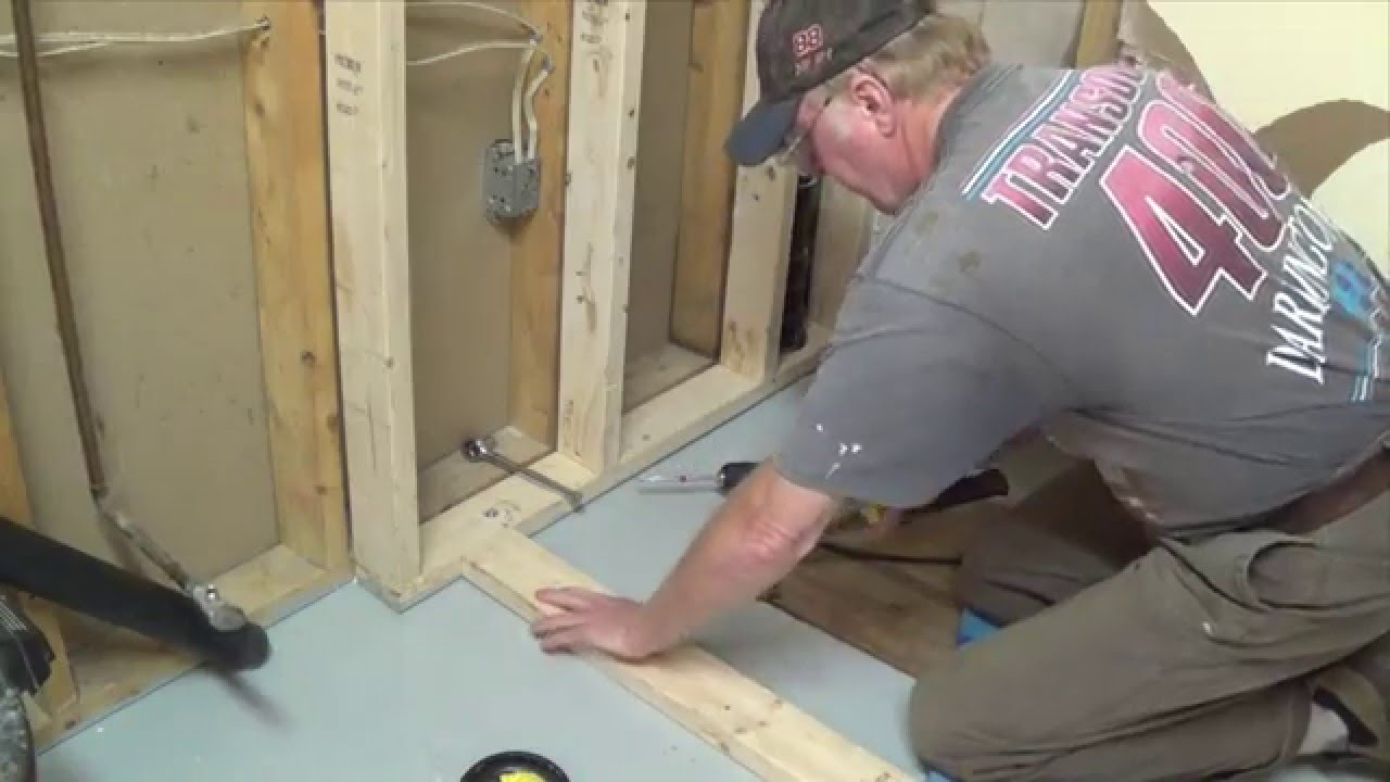 & DIY Basement Bathroom Part 1 - Shower Stall Frame u0026 Drain - YouTube
