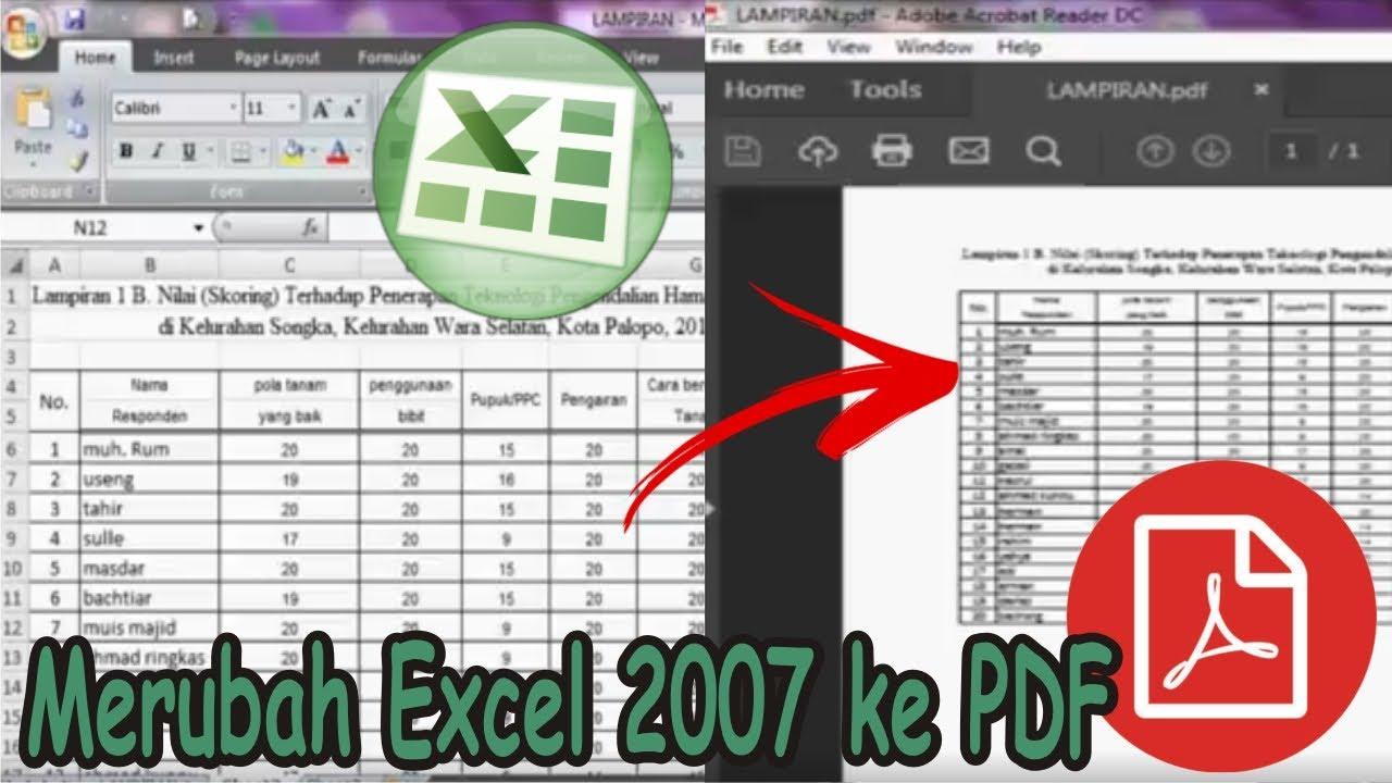 Cara Menyimpan File Excel 2007 Ke Pdf Simple News Video Youtube