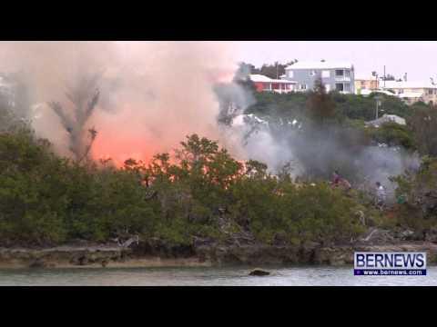 Firefighters Battle Fire On Island, May 31 2013