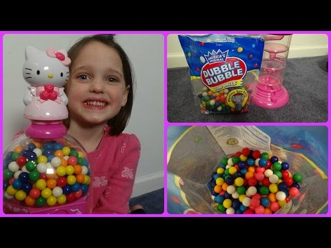 "Thumbnail: Annabelle Toy Freaks Hello Kitty Gumball Machine ""Double Bubble Gum"" Messy Filling"