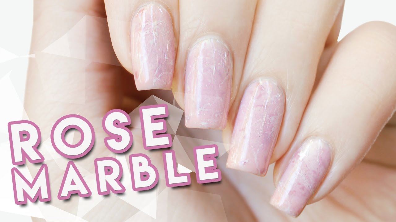 Rose Quartzpink Marble Nail Art Youtube
