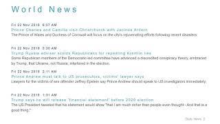 World News Headlines for 22 Nov 2019 - 1 PM Edition