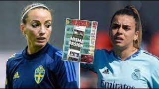Kosovare Asllani stöttar Misa Rodriguez efter påhoppen