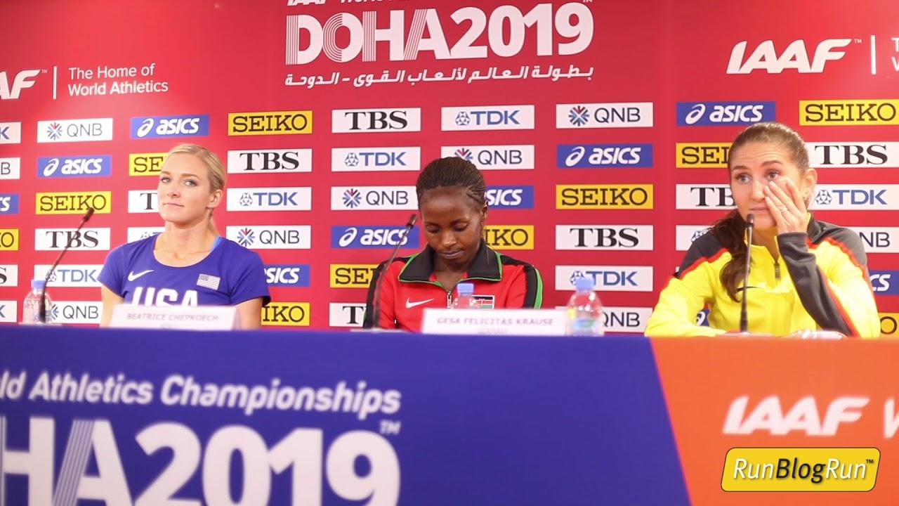 Doha WC 2019 - Women's 3000m Steeplechase Final Press Conference