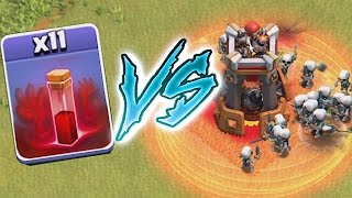 Clash of clans BOMB TOWER VS. ALL SKELETONS (TROLL CHALLENGE!)