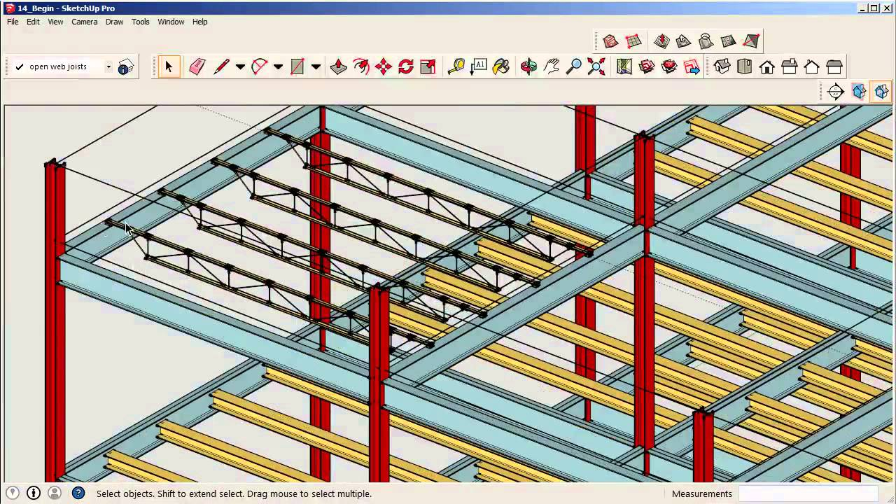 14 placing the open web joists onto beams youtube for Open web trusses