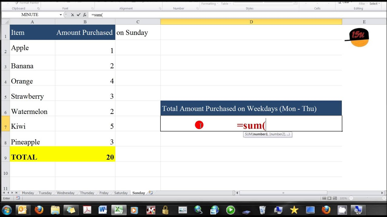 Excel Sum Of Same Cell From Multiple Continuous Sheets Sum