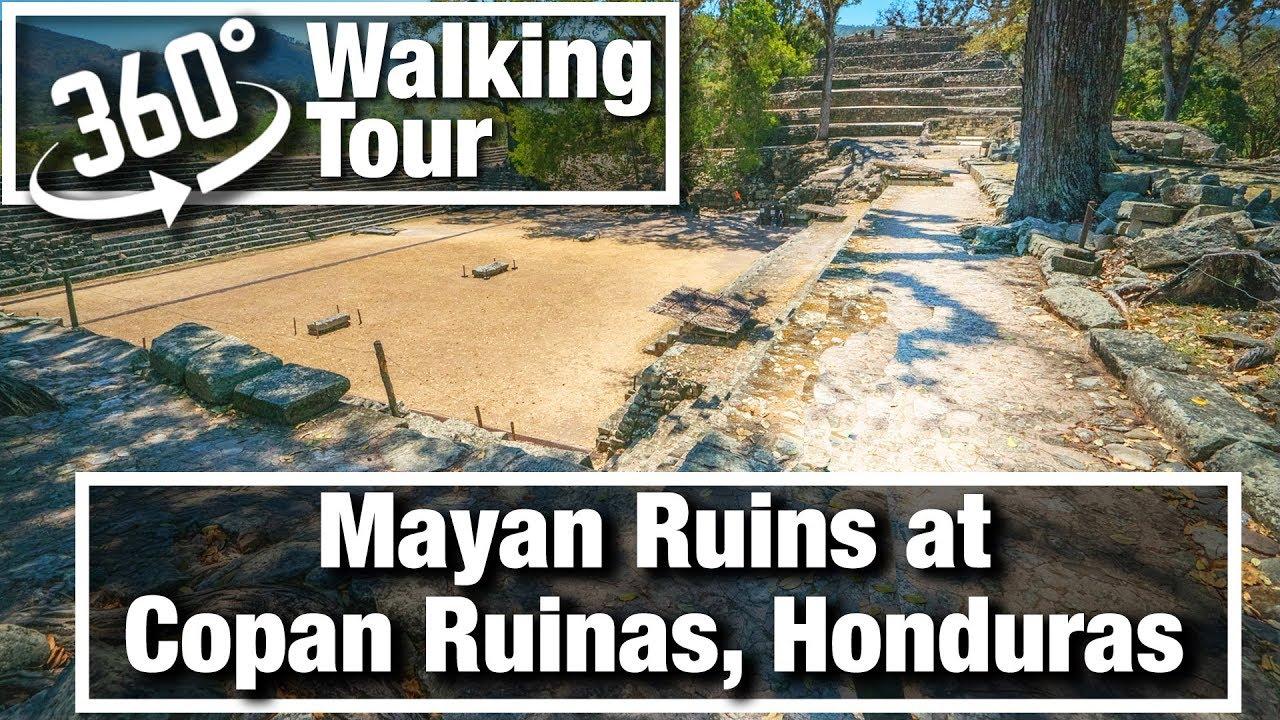 4K City Walks:  Copan Ruins Ancient Mayan Ruins in 360 Walking Tour