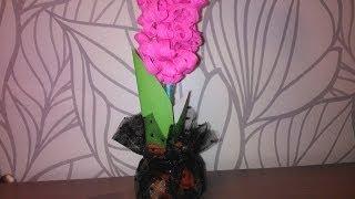 Поделки из гофрированной бумаги Цветок Гиацинт Crafts paper Flower Handemade(Эту поделку - цветок можно выполнить не только из гофрированной, но и обычной двусторонней цветной бумаги...., 2014-01-10T18:46:03.000Z)