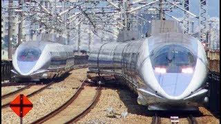 新幹線500系、離合シーン。福山駅。Shinkansen
