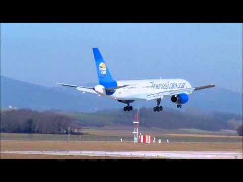 Landing B757-200 Thomas Cook Grenoble Isere Airport LFLS
