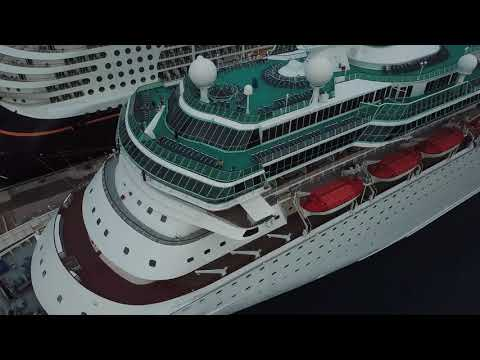 Drone Footage on Carnival Elation, includes Disney Dream ship, a Royal ship, and a Viking Ship