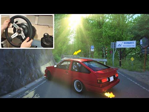 Toyota AE86 Drifting Tight Touge in Japan with Steering Wheel | Assetto Corsa Graphics Mods |