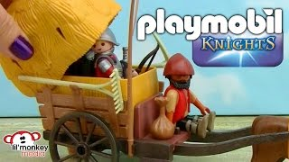 Playmobil Knights - Hawk Knights Battle Cannon and Camouflage Wagon! thumbnail