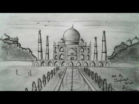 How to draw taj mahal easily pencil art artist munda