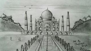 How to draw Taj Mahal Easily | Pencil Art | ARTIST MUNDA