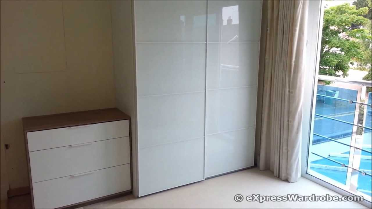 IKEA Pax FARVIK White Glass Sliding Door Wardrobe Design & IKEA Pax FARVIK White Glass Sliding Door Wardrobe Design - YouTube