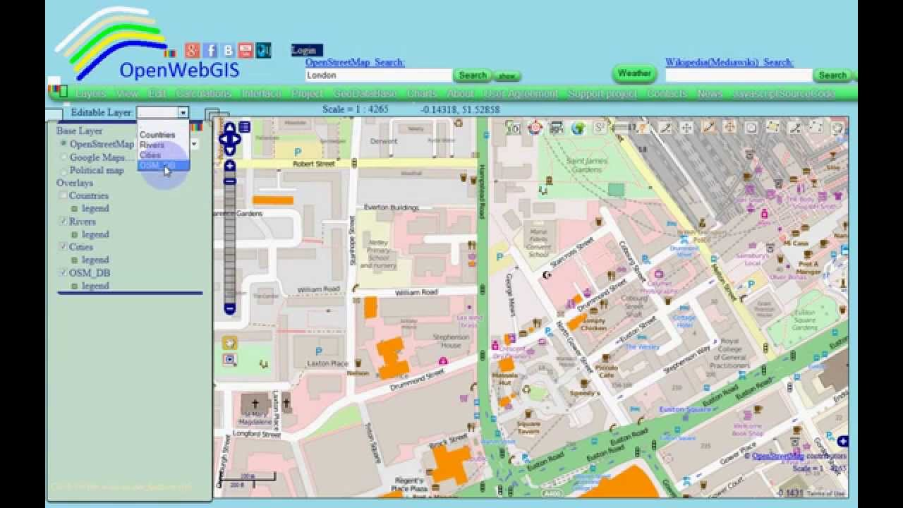 Import/export of OpenStreetMap vector data using OpenWebGIS