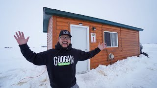 Winter Ice Camping iฑ a Off-Grid Log Cabin!