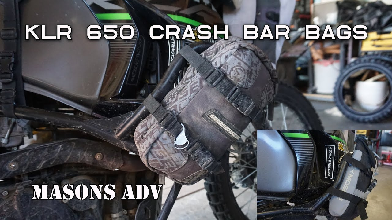 KLR 650 Crash bar bags and how to mount Molle bags.
