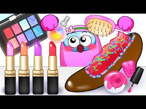 Edible Makeup Challenge - AMONGUS ANIMATION MUKBANG