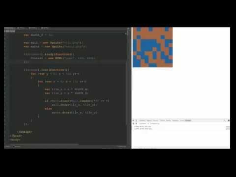 JavaScript HTML Game Development Tutorial 4 - Tile Map Game Engine for RPG or 2D Platformer
