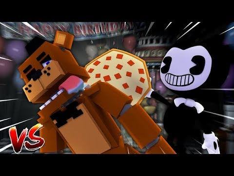 BENDY DEFENDS HIS HOUSE AGAINST FREDDY AND THE FNAF ANIMATRONICS - Minecraft Versus Sharky Adventure
