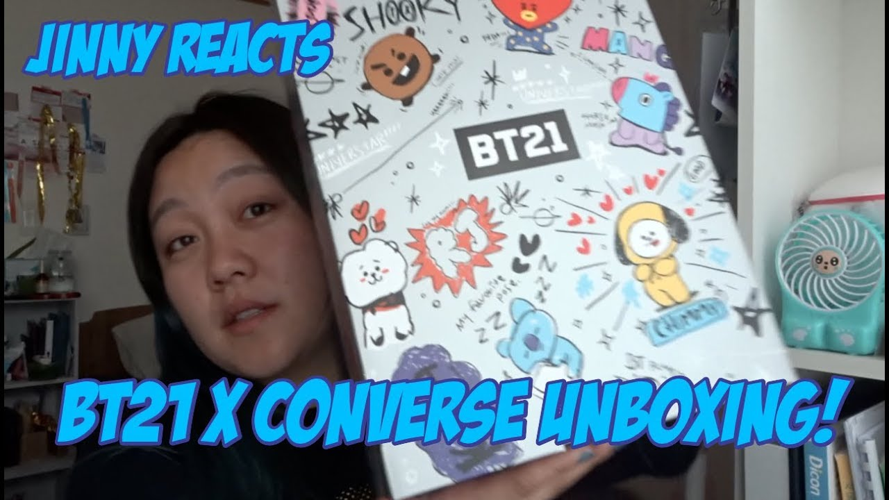 043028503f24 JINNY REACTS  BT21 X CONVERSE UNBOXING! - YouTube