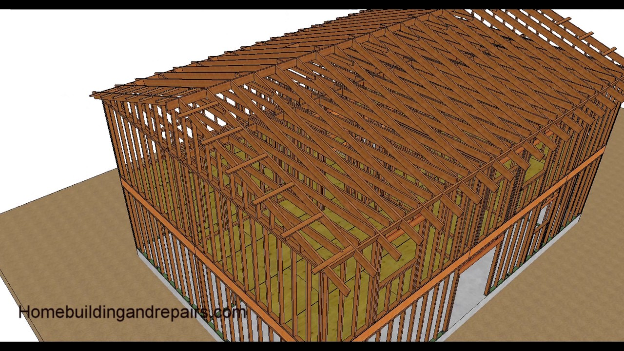 Two Story House Framing Part Two Gable Roof And Garage
