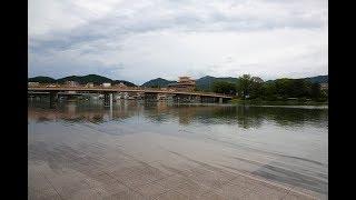 水位が上がる大雨後の琵琶湖 瀬田の唐橋を渡る