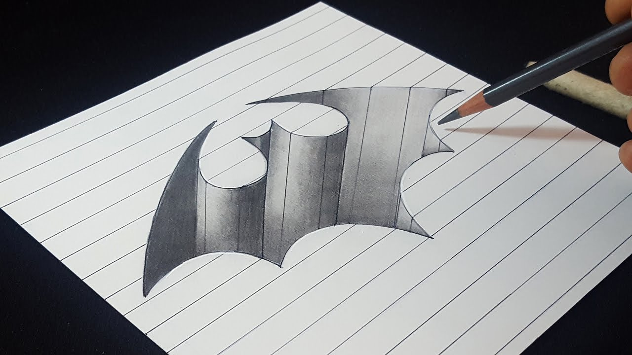 3d Batman Logo Hole Easy Trick Drawing Pencil Shading Youtube