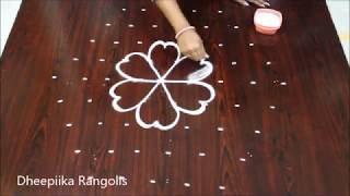 creative flower kolam design with 9x5 dots * simple rangoli design * new rangoli patterns