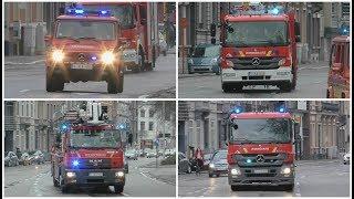 Officier, Autopomp, Elevator & Tankwagen Brandweer Mechelen met spoed naar een interventie