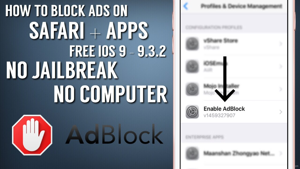 How To Block ADS On Safari   Apps(iOS 9 - 9.3.2)(NO Jailbreak ...