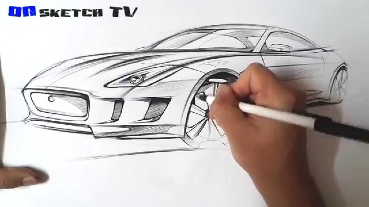 온스케치 Tv Car Sketch Jaguar Cx16 F Type Sketch Bic Ballpen