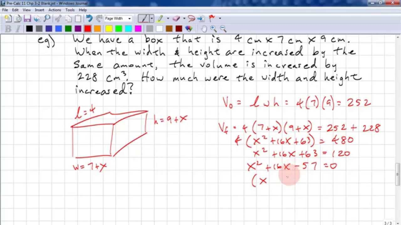 PreCalculus 11 Chp 3 2 - Solving Quadratic Equations by Factoring