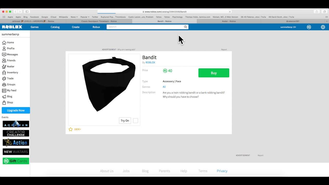 Purchasing Bandit Mask On Roblox Youtube