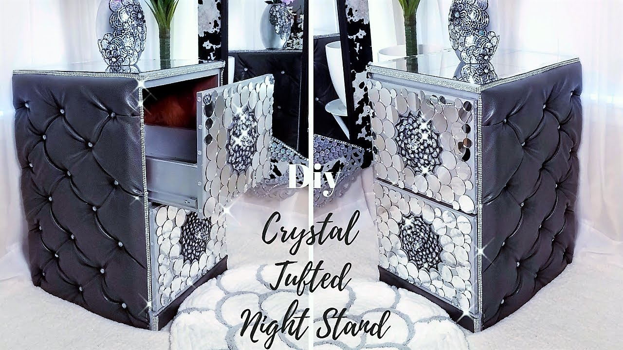 DIY CRYSTAL TUFTED NIGHT STAND  ROOM DECORATING IDEAS 2019!!! 1