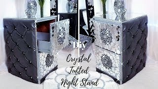 DIY CRYSTAL TUFTED NIGHT STAND| ROOM DECORATING IDEAS 2019!!!