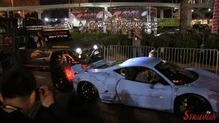 FERRARI CRASH!! 458 Italia Liberty Walk Widebody rear ended by Jeep at SEMA 2014!