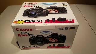 Canon EOS Rebel T6 Camera Premium Kit unboxing and review