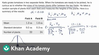 Two-sample t test for difference of means | AP Statistics | Khan Academy