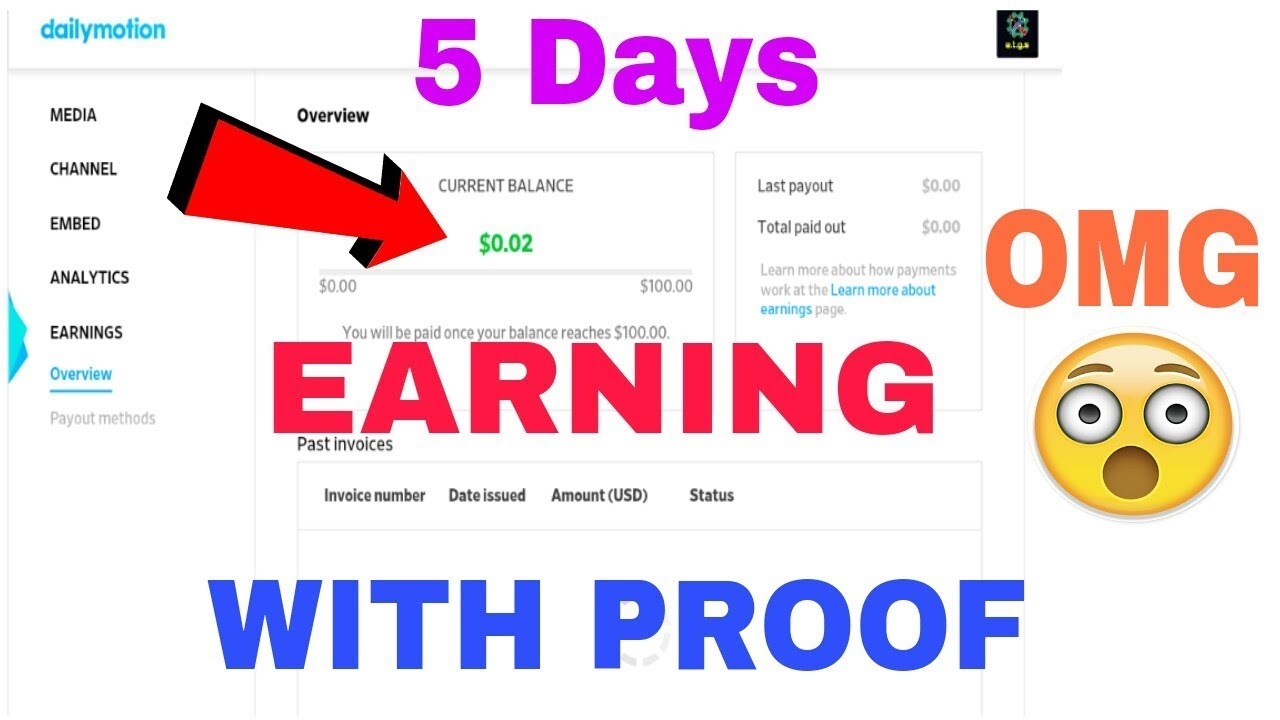 My Earning in 5 Days from Dailymotion with Proof   How much you can earn  from Dailymotion