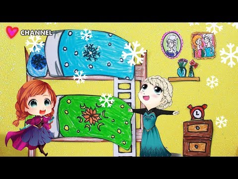 DIY paper doll house Elsa and Anna paper house handmade Papercraft