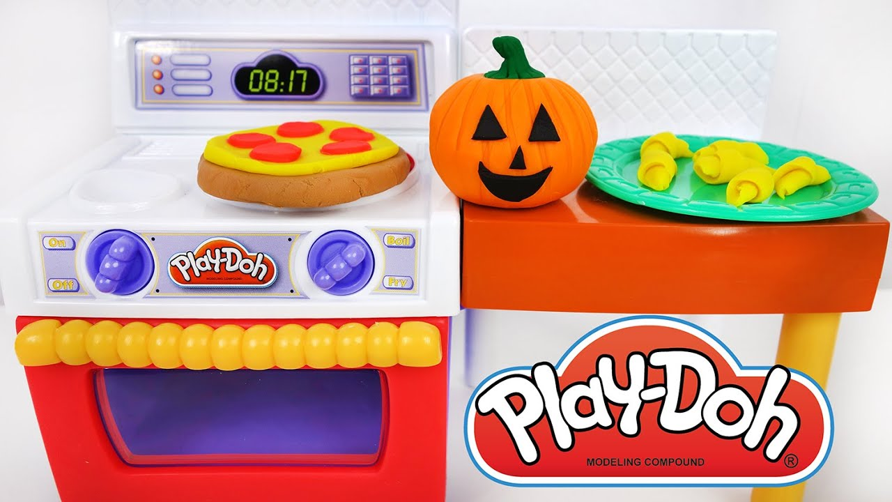 Play Doh Kitchen Set Food Pizza Halloween Pumpkin Cooking Videos For