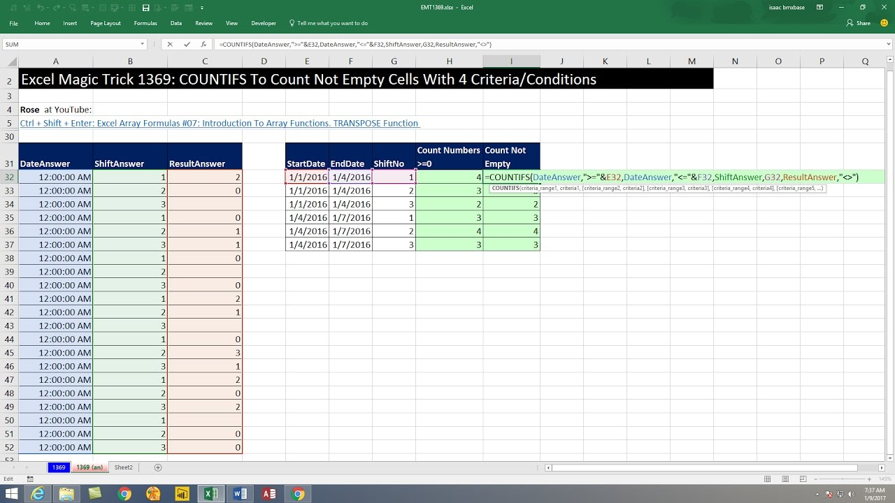 Excel Magic Trick 10 COUNTIFS To Count Not Empty Cells With 10  Criteria/Conditions
